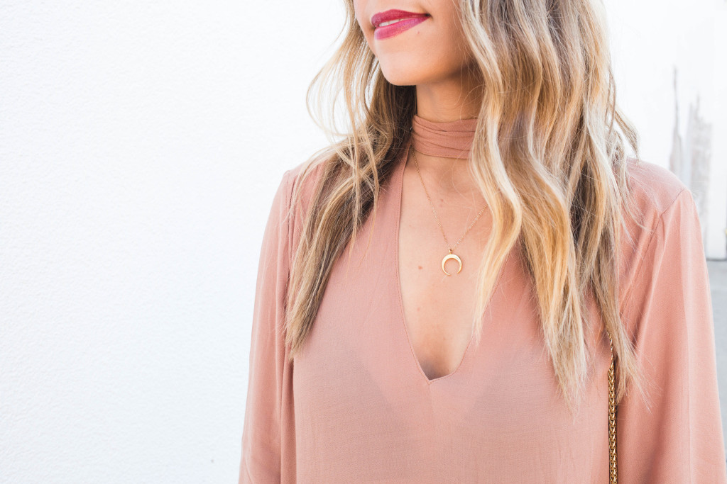 Tie Neck Blouse with Necklace