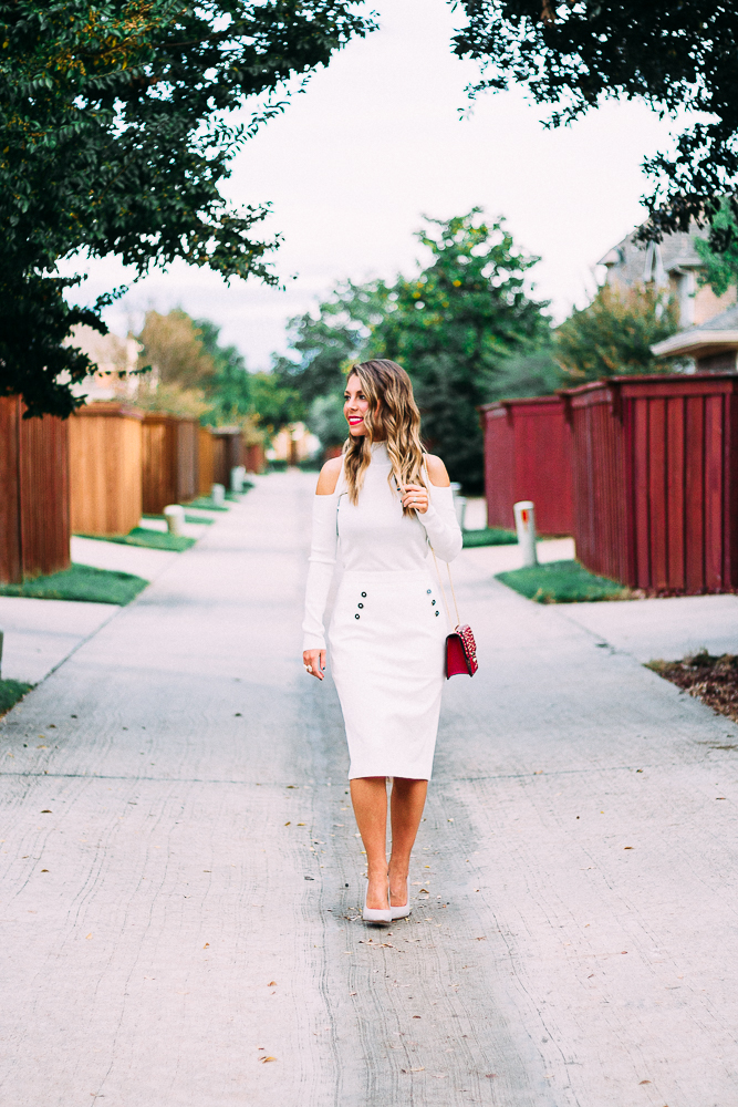 winter white top and pencil skirt