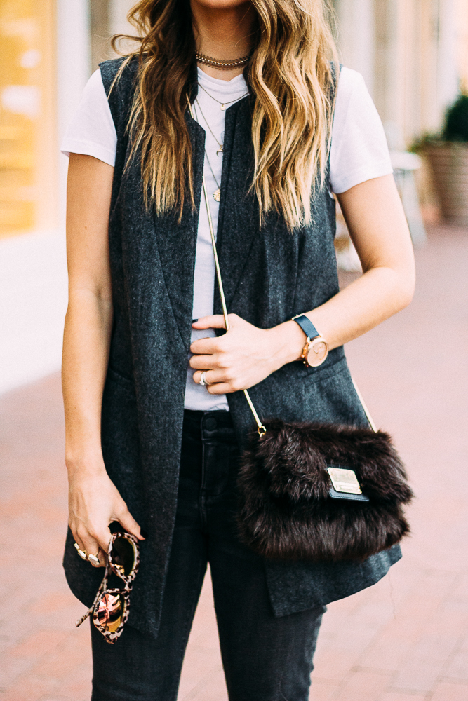 oversized vest with jeans and a tee and a faux fur purse