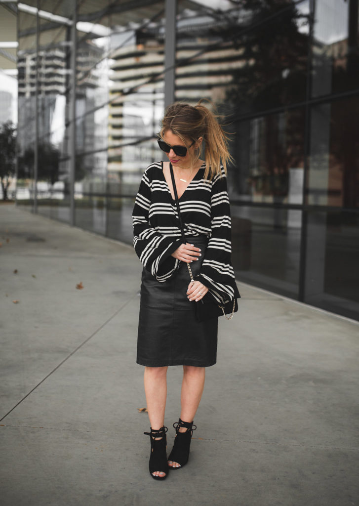 striped top and pencil skirt blogger