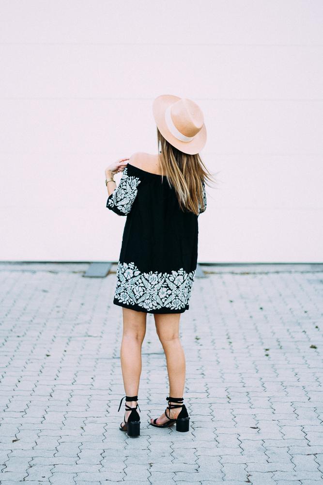 off the shoulder embroidered dress