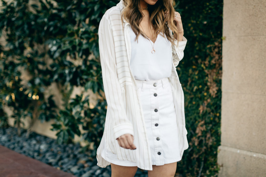 white button up skirt with flowy shirt