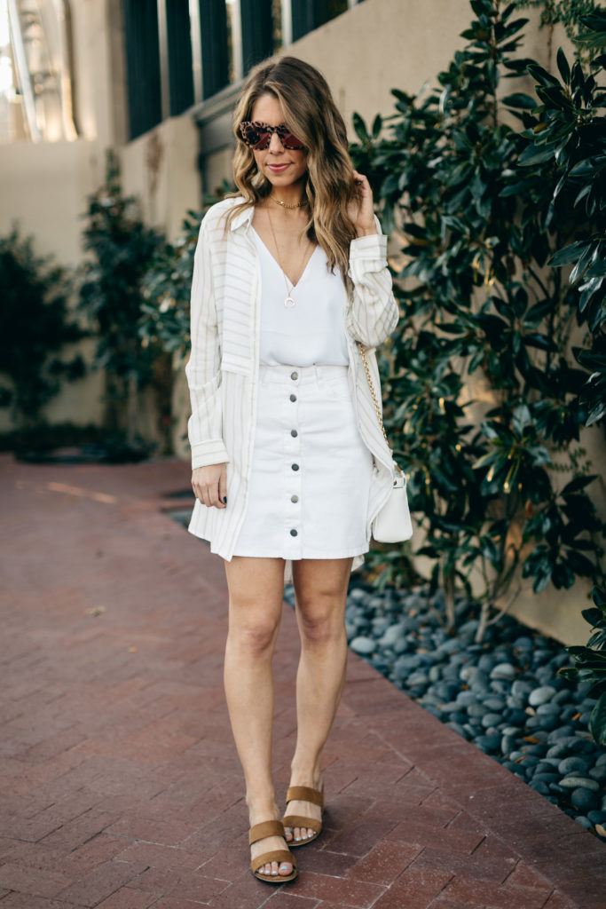 white summer outfit with tunic