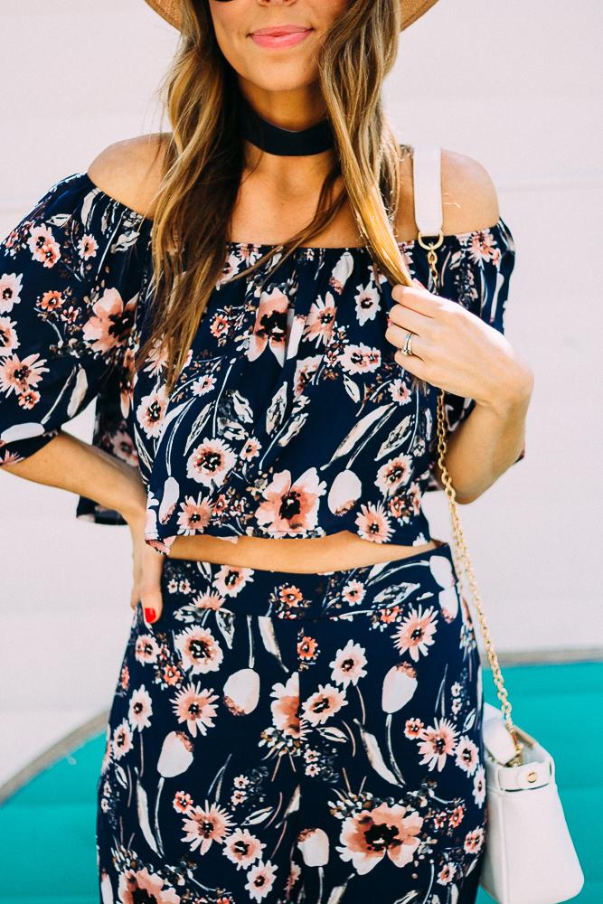 off the shoulder floral matching set