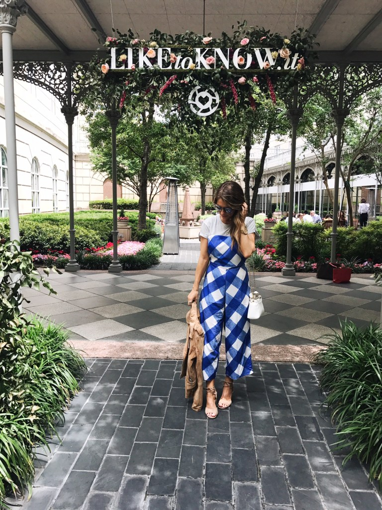 gingham blue and white jumpsuit