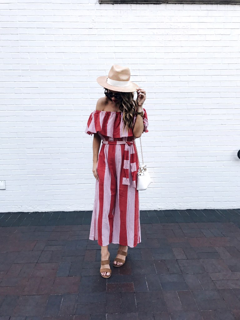 red and white stripe jumpsuit