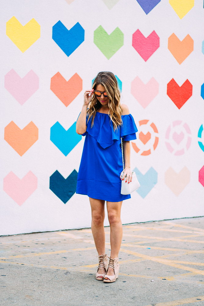 ruffle blue off the shoulder dress