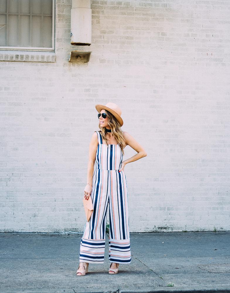 striped culottes jumpsuit