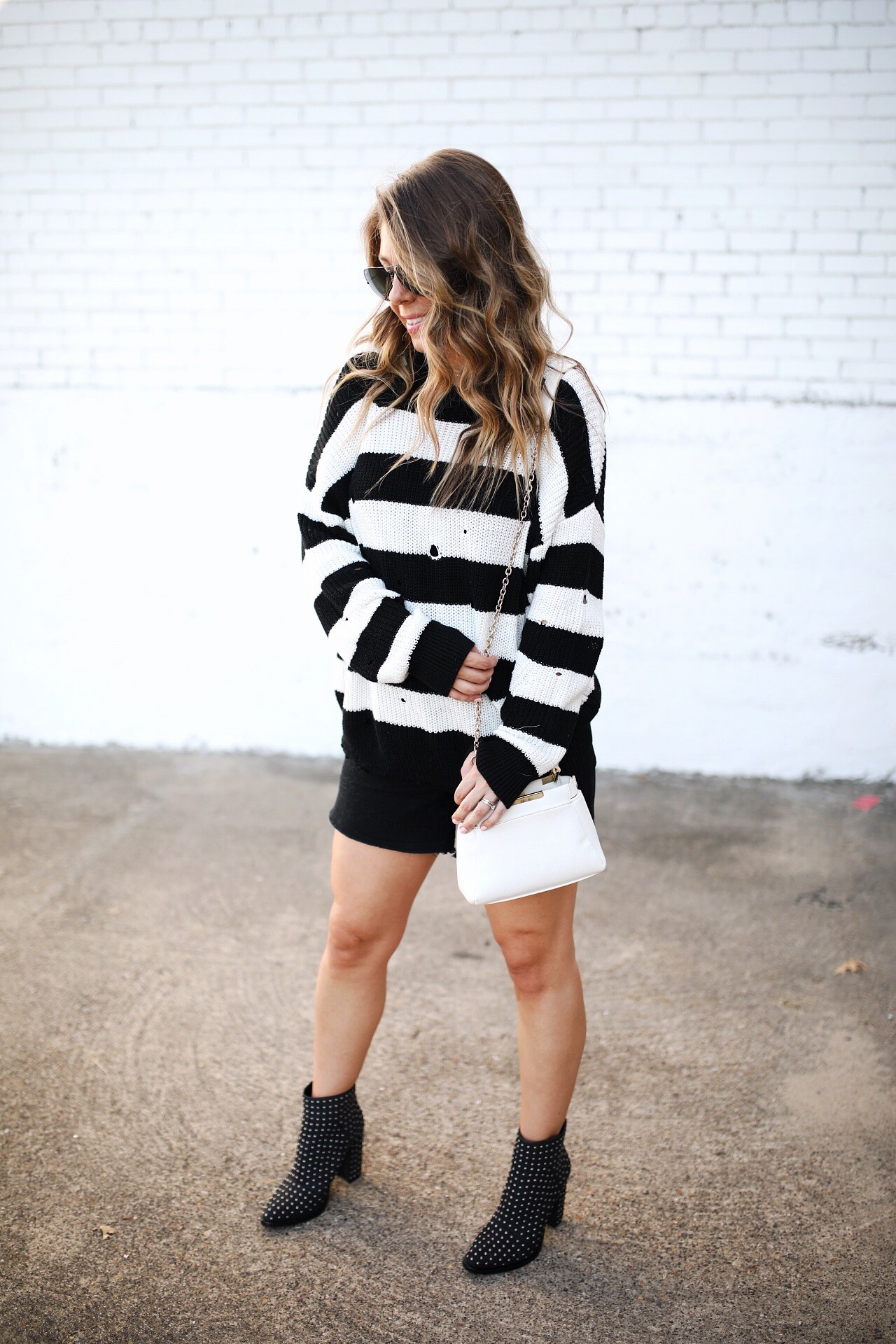 striped sweater with stud booties
