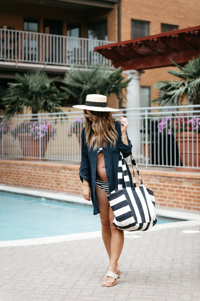 classic cover-up scalloped swimsuit stripes
