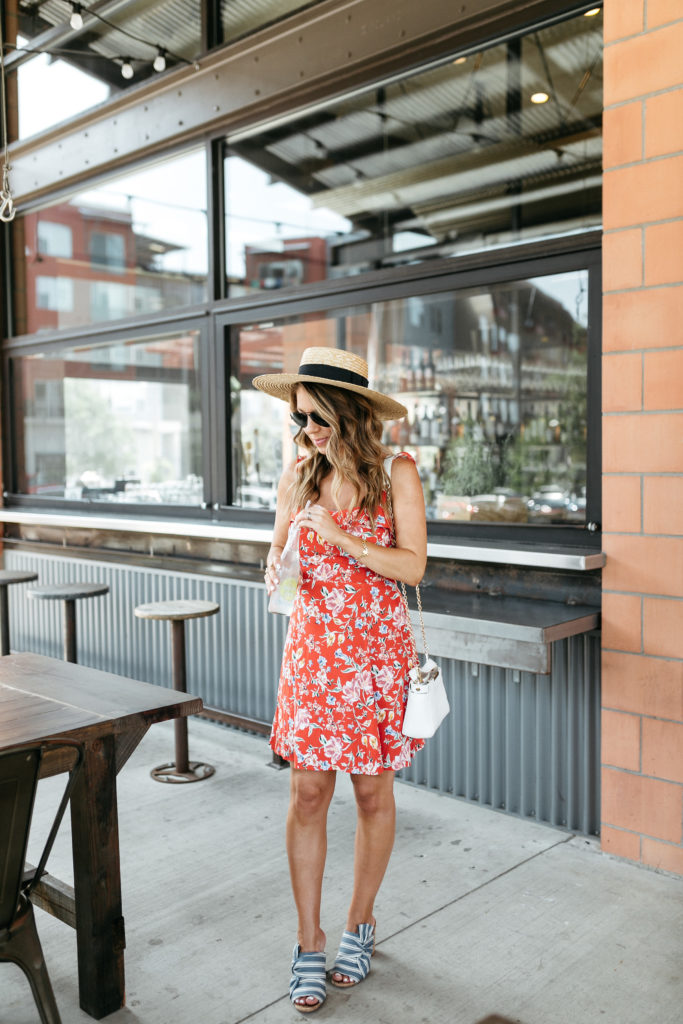 red floral ruffle dress