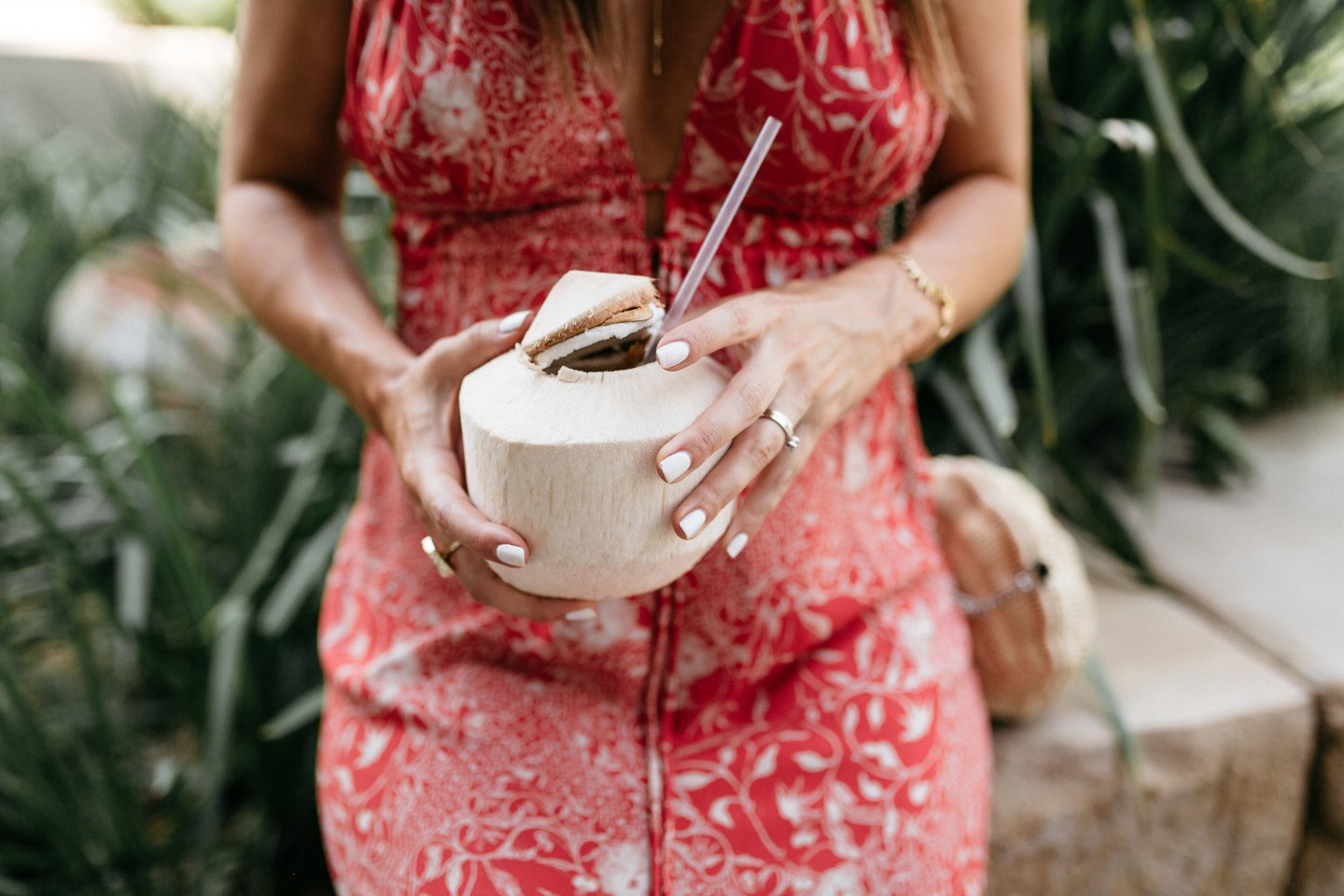 coconut water fashion blogger in red dress