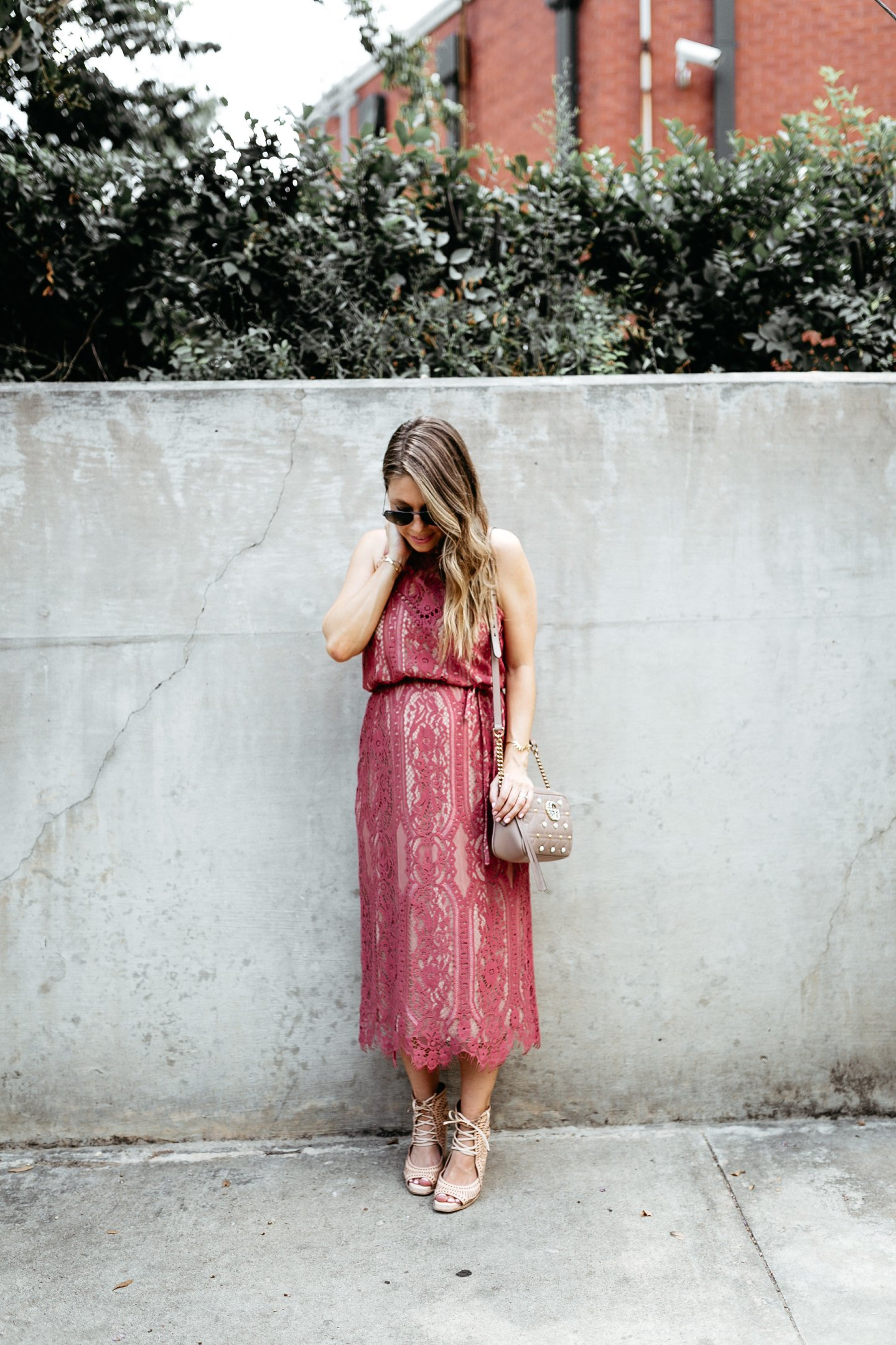 classic lace midi dress fashion blogger