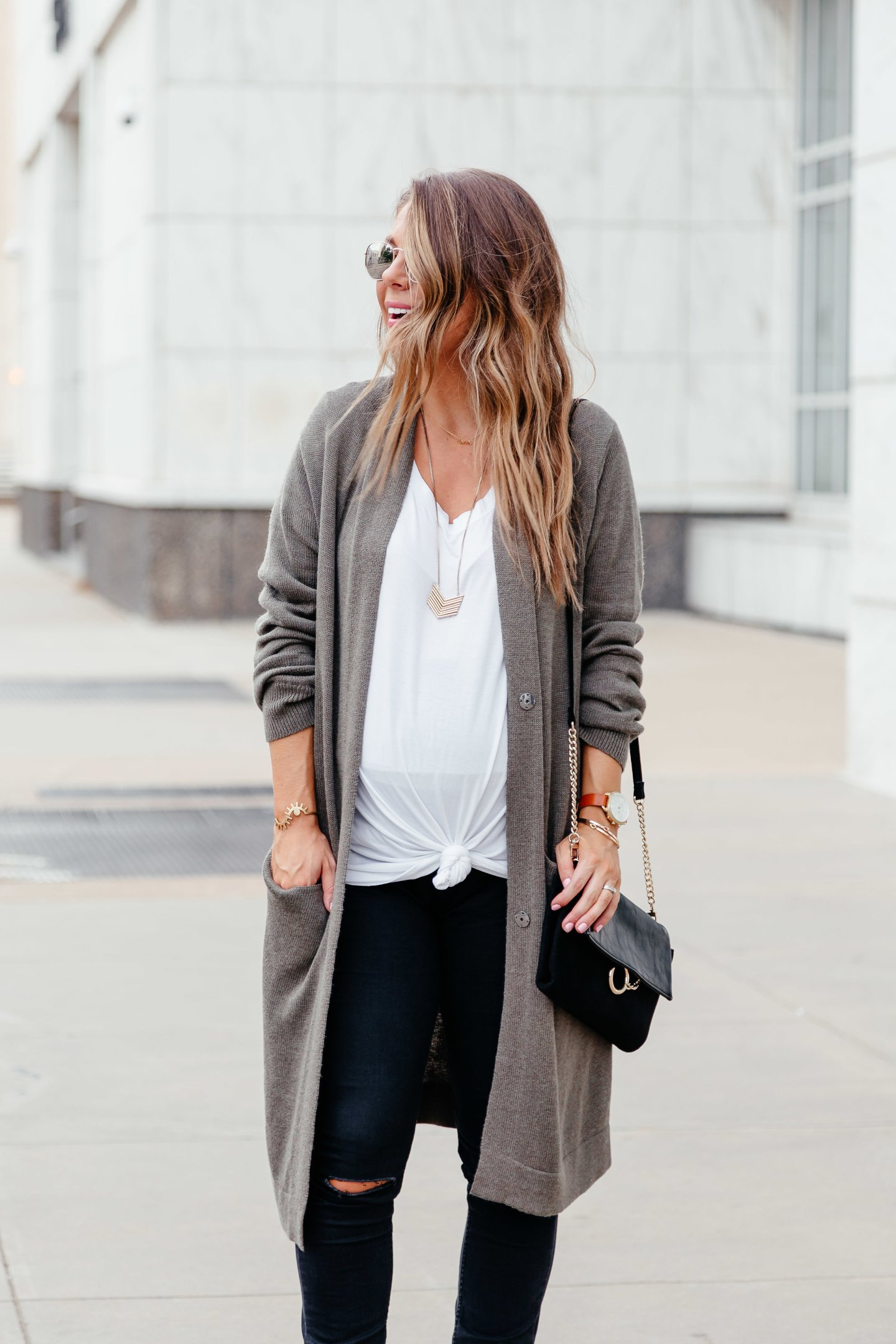 white tee olive cardigan gold necklace