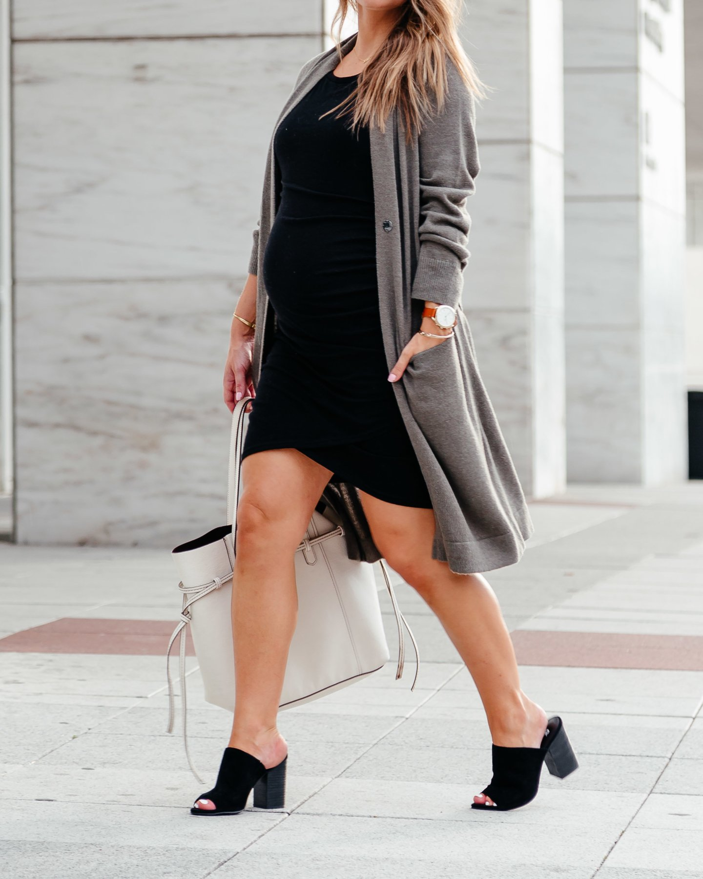 olive long cardigan with black bodycon dress