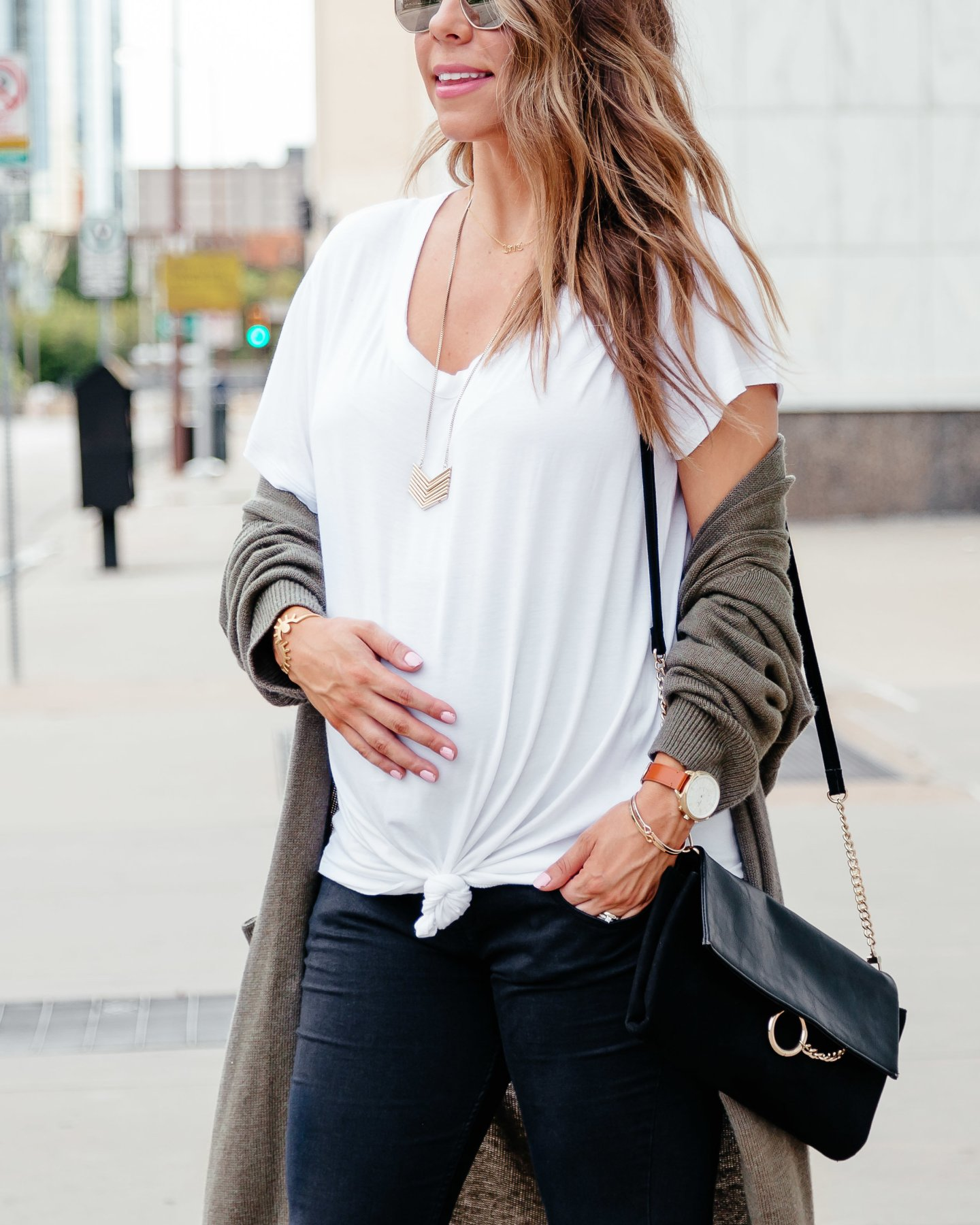white tee with green cardigan