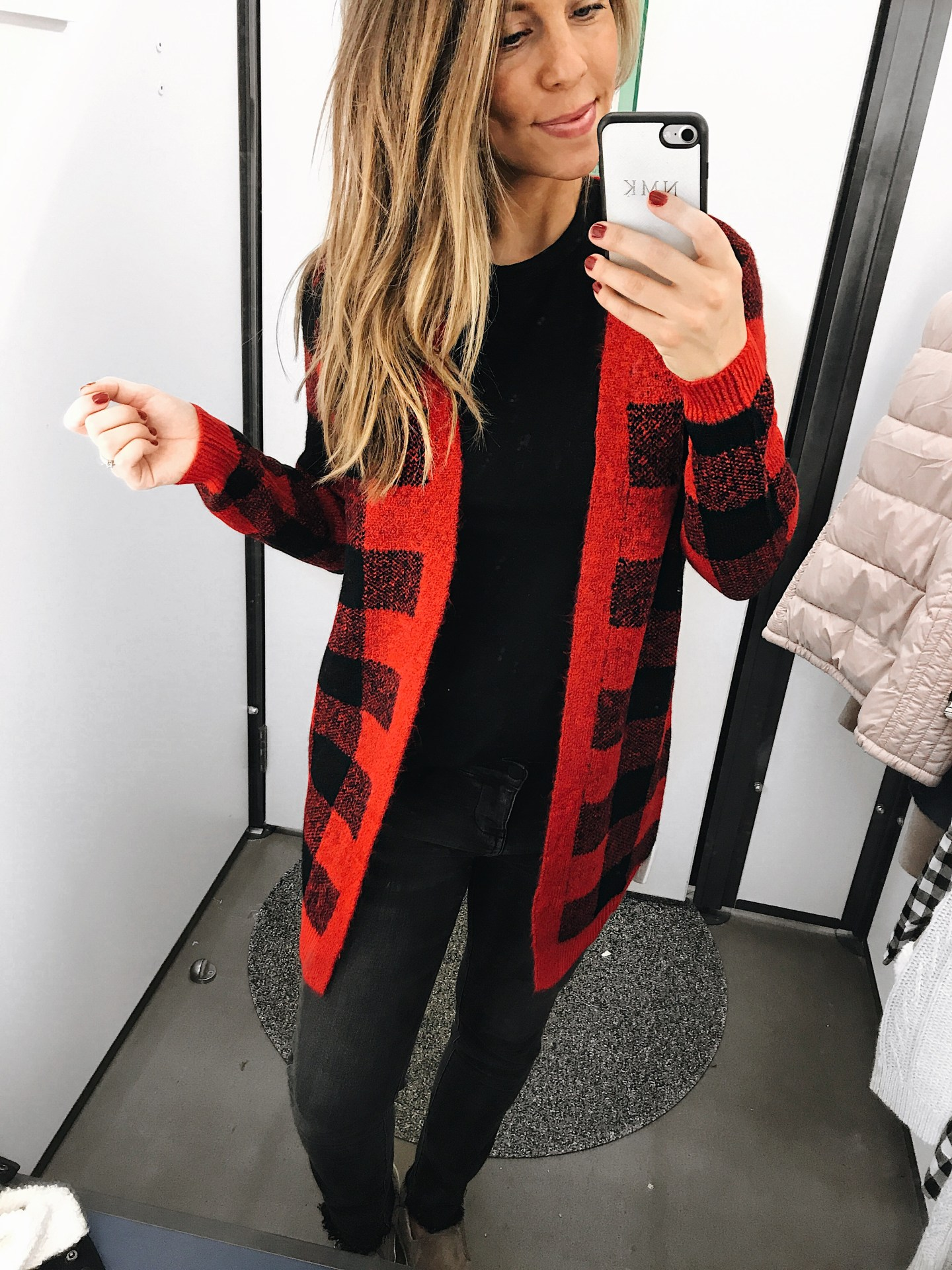 old navy deals red and black buffalo check cardigan