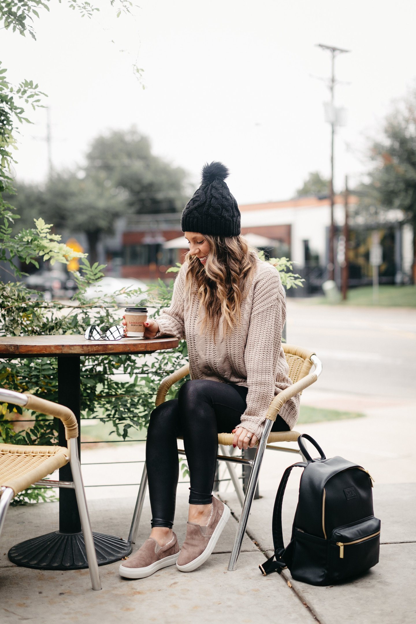 fashion blogger pom beanie cable knit sweater faux leather leggings
