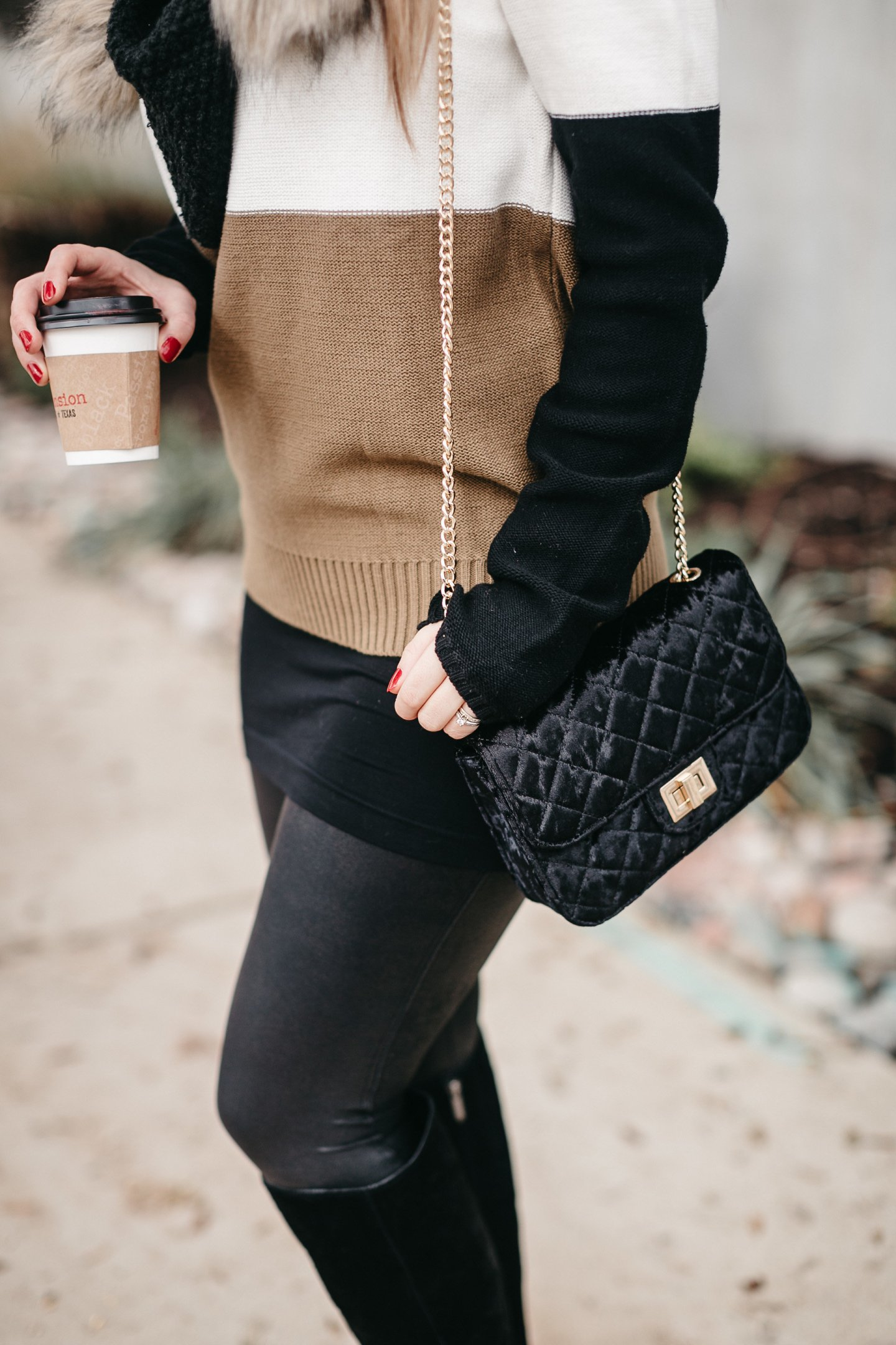 black velvet quilted bag