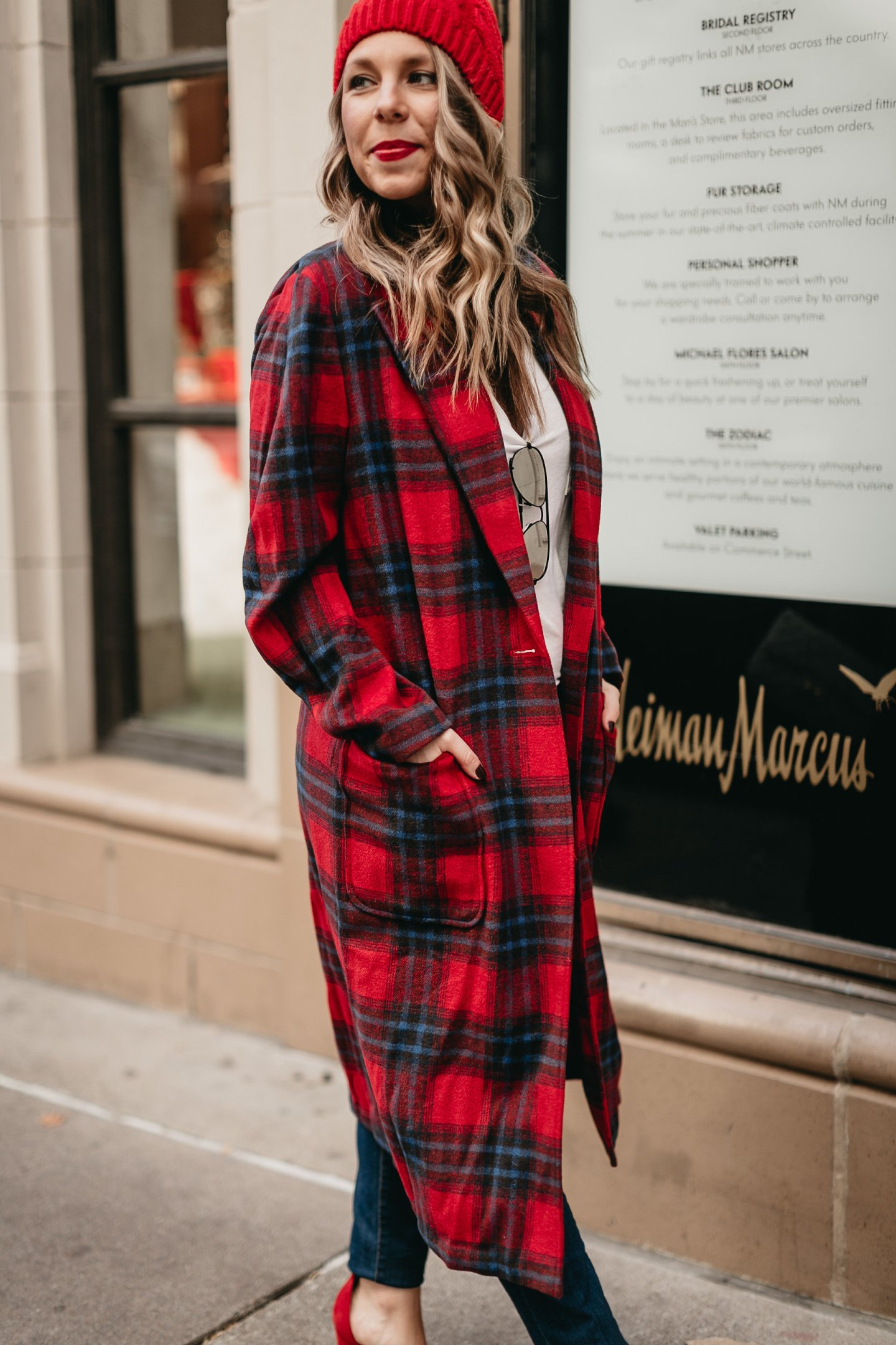 red plaid coat holiday style blogger
