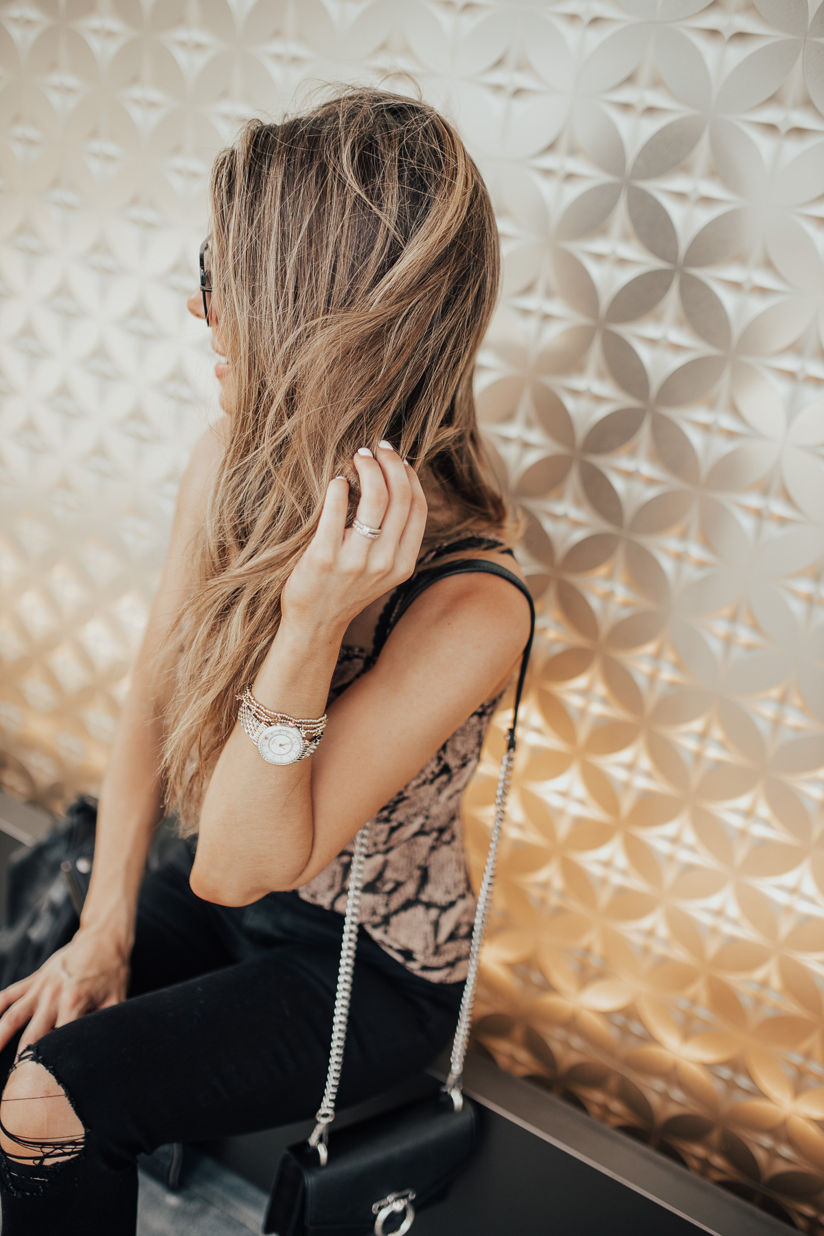 SNAKE PRINT CAMISOLE AND MICHELE WATCH