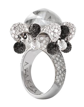 AVAKIAN Joker ring in diamond and black onyx