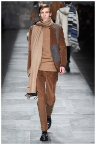 Fendi Fall-Winter 2015 Menswear Collection. Silvia Fendi had corduroy on the mind for fall, but also the shearling trend. Manipulating shearling, Fendi created a faux corduroy for the collection, sending rich brown imitations down the catwalk. The tailored fits were easily a success, contributing to smart coordinated ensembles.