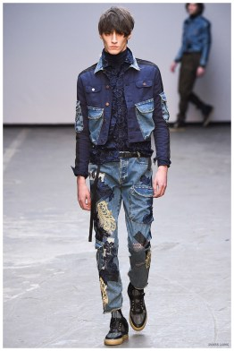 James Long Fall-Winter 2015 Menswear Collection. One of the highlights of London Collections: Men, designer James Long brought a casual attitude to the plate for fall. Mixing fabrics and colors, Long remixed the elements of the denim jacket for a youthful undertaking.