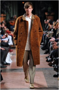 Billy Reid delivered oversized coats and printed trousers. Billy Reid Fall/Winter 2015 Menswear Collection.