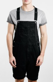 Topman Black Denim Men's Denim Overall Shorts