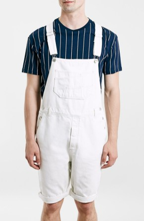 Topman White Denim Overall Shorts