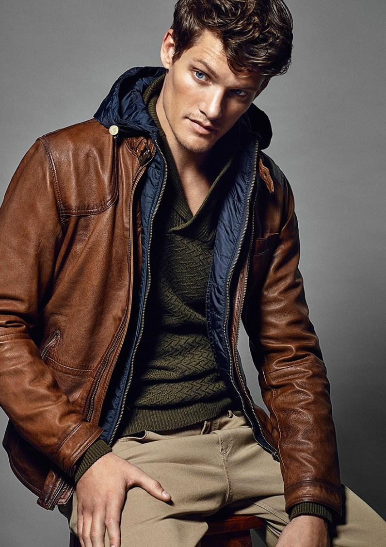 Massimo dutti leather jacket men