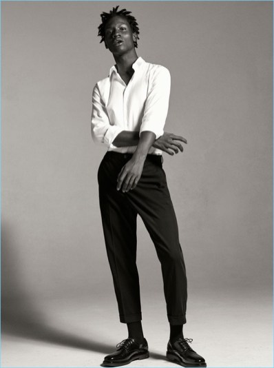 Adonis Bosso in Zara Man white shirt.