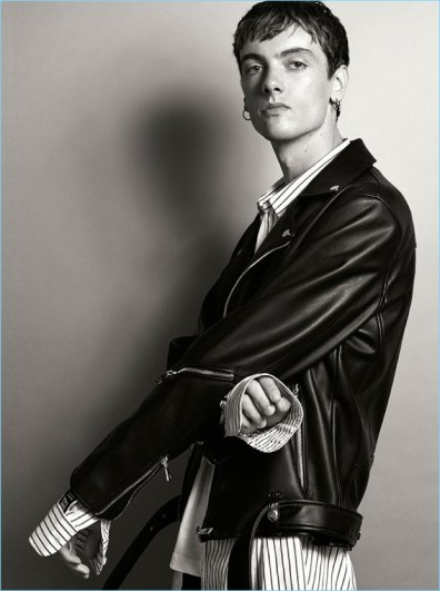 Calum Paterson in Zara Man leather jacket.