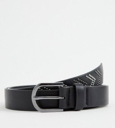 b555c82c74d ASOS DESIGN faux leather slim belt in black with silver studding - Black