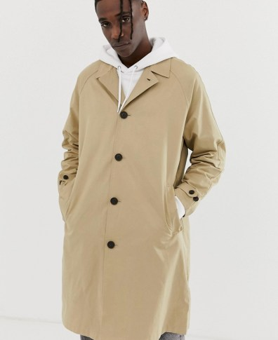 6270bea4d ASOS DESIGN shower resistant longline trench coat with belt in stone ...