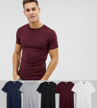 0c86a1be624 ASOS DESIGN organic muscle fit crew neck t-shirt with stretch 5 pack  multipack saving