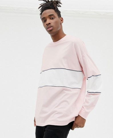 d3c88b2ec3ce2b ASOS DESIGN organic oversized longline long sleeve t-shirt with color block  and piping in