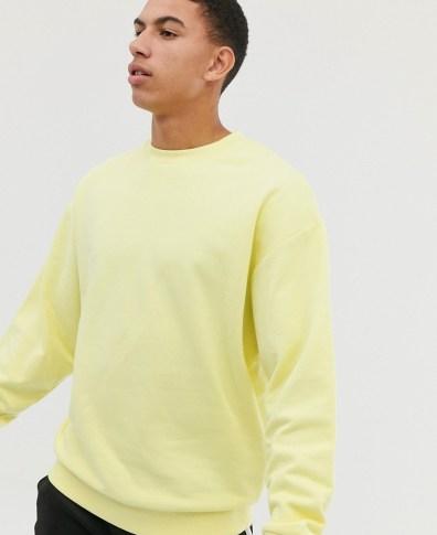 25e2793c013d5e ASOS DESIGN oversized sweatshirt in yellow - Yellow