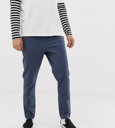 8ff1df36051 ASOS DESIGN tapered chinos in dark blue with elastic waist - Blue