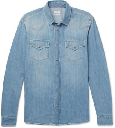 e05b85379b Brunello Cucinelli – Slim-Fit Cutaway-Collar Washed-Denim Shirt ...