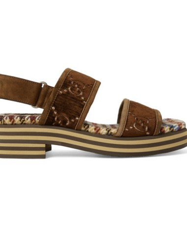 70830688d01b Gucci - Suede-Trimmed Logo-Embroidered Velvet Sandals - Men - Dark brown