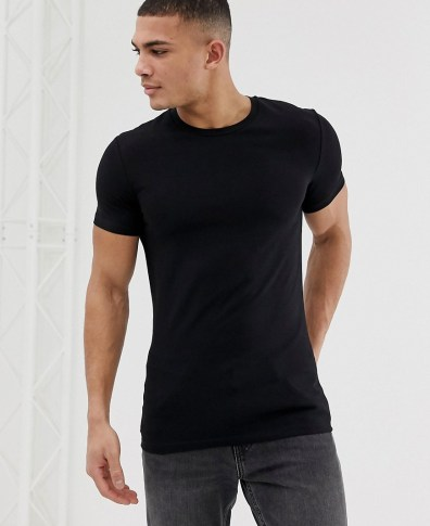 de51f97180a1 ASOS DESIGN muscle fit crew neck t-shirt with stretch with stretch in black  -