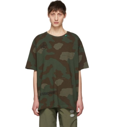ef3f76ce5478 Off-White Green and Brown Camo Stencil T-Shirt