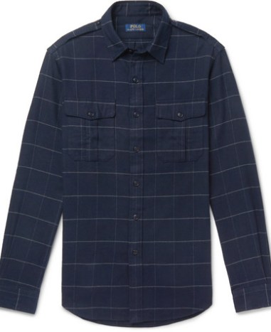 7f8e85890 Polo Ralph Lauren - Checked Brushed Cotton-Flannel Overshirt - Men - Blue