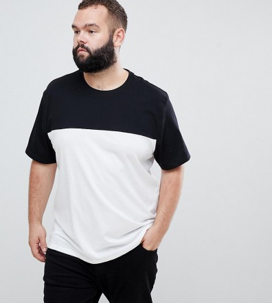 0861fc0f0 ASOS DESIGN Plus relaxed t-shirt with contrast yoke in white - White