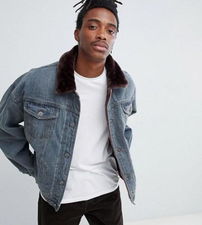 b18ca9428020 ASOS DESIGN denim jacket with leopard print faux fur collar – Black ...