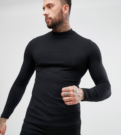 abab390b66cb ASOS DESIGN muscle fit long sleeve turtleneck t-shirt with stretch in black  - Black