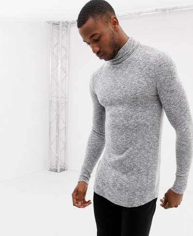 856d8d860e31 ASOS DESIGN muscle fit longline long sleeve t-shirt with roll neck and  curved hem