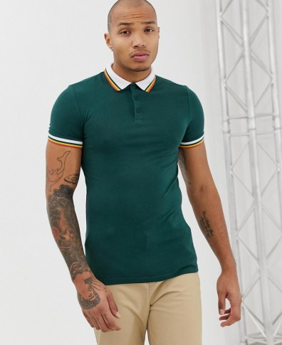 2ddc9dbe ASOS DESIGN organic muscle fit polo shirt with contrast tipping in green -  Green